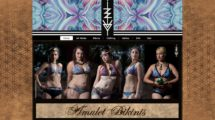 crystal adorned with amulets and visionary art bikinis